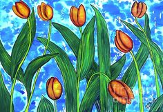 Tulips Against Patchy Blue Sky. Acrylic on Paper by Caroline Street. #Tulips #FlowerArt  #Gardens #PaintedFlowers #still-lifeart