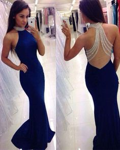 6dc9c2b8e72 Navy Blue Mermaid Sexy Prom Dresses Halter with Beads Spandex Illusion Back  Formal Evening Party Gowns