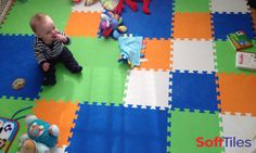 """Blake LOVES his SoftTiles. He has become very active since we made him this play area!!""- Laurel  Mix our SoftTiles 1 foot mats with our 2 foot foam mats to create fun geometric patterns! #playrooms  For more ideas visit: http://www.softtiles.com/index.php?option=com_content&view=article&id=100&Itemid=146"