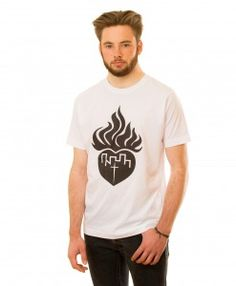 Flaming Heart T-shirt in white