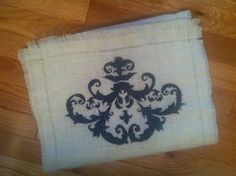 Ivory burlap table runner with grey accent/design