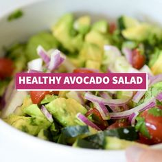 This Avocado Salad recipe is a healthy fresh and insanely addicting side dish perfect for bbqs potlucks and get togethers! Ready in only 10 minutes this dish is low carb gluten free paleo vegetarian and vegan. Avocado Dessert, Avocado Salad Recipes, Healthy Salad Recipes, Healthy Drinks, Diet Recipes, Healthy Snacks, Vegetarian Recipes, Healthy Eating, Cooking Recipes