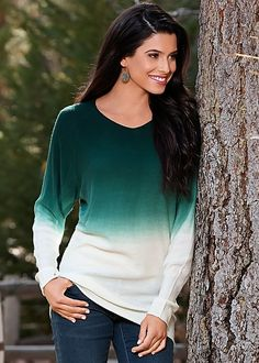 Hey there, trendsetter! Ombre that's so right now! Venus long sleeve ombre sweater.