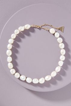 Mitsy Pearl Choker Necklace by Serefina in White Size: All, Jewelry at Anthropologie Pearl Choker Necklace, Diamond Solitaire Necklace, Pendant Necklace, Isle Of Man, Anniversary Jewelry, Jewelry Trends, Or Rose, Fine Jewelry, Geek Jewelry