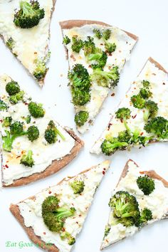 Whole wheat white broccoli pizza. You can add any fresh veggie of your choice. Kale and spinach will work too. #pizza #broccoli #healthy