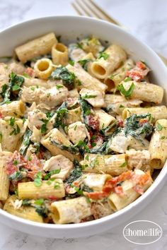 This creamy dijon chicken pasta with sun dried tomatoes and spinach is the perfect meal any night of the week! The other day when I made the Creamy Dijon Chicken I decided to make it again Healthy Chicken Recipes, Gourmet Recipes, Dinner Recipes, Cooking Recipes, Chicken Pasta Salad Recipes, Detox Recipes, Healthy Pasta Salad, Healthy Chicken Pasta, Delicious Salad Recipes
