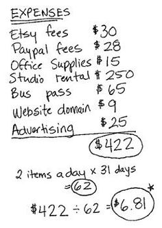 how to figure out pricing so you can sell your work. There are lots of ways to do this. Here's a great article from Etsy that goes into the details of how to figure expenses, labor, and para vender Creating a Small Business Budget Starting A Business, Business Planning, Business Tips, Business Goals, Business Baby, Business Essentials, Info Board, Craft Show Displays, Craft Show Ideas