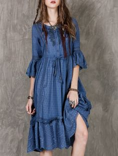 SHARE & Get it FREE | Frilly Embroidered Midi DressFor Fashion Lovers only:80,000+ Items • New Arrivals Daily Join Zaful: Get YOUR $50 NOW!