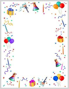 Anniversaire - Real Tutorial and Ideas Birthday Clipart, Birthday Wishes, Birthday Cards, Happy Birthday, Borders For Paper, Borders And Frames, Diy And Crafts, Crafts For Kids, Free Printable Stationery