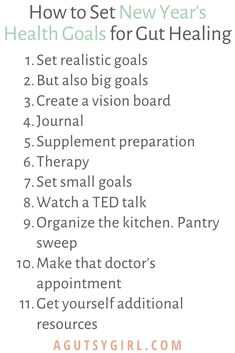 How to Set New Year's Health Goals for Gut Healing agutsygirl.com #guthealth gut health #newyearsgoals #healthygoals steps
