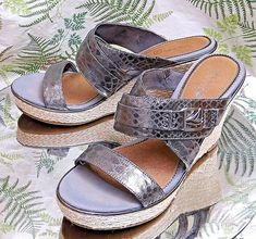 d03a1f4a885a Sperry top-sider silver leather slip ons sandals shoes heels us womens sz 9  m