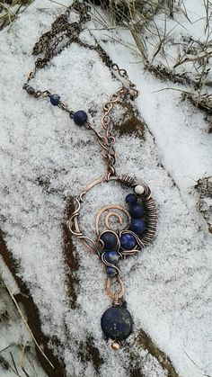 Copper wire wrapped pendant necklace with natural by Tangledworld