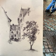 #drawanyway - one more rainy drawing day in Visby, #ballpoint pen on paper