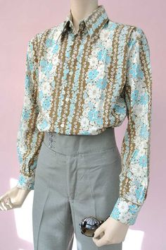 Men's Vintage 70s Floral Shirt by The London Look  by DillyDandy