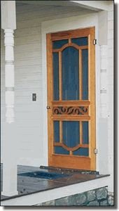 Screen Door 7110 allows cool breezes into the kitchen.  Turned Posts are freshly painted and ready for Gingerbread.