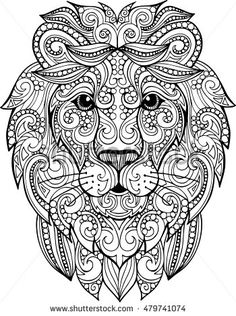Decorative ornate vector lion head drawing for coloring book Hand drawn doodle zentangle lion illustration. Decorative ornate vector lion head drawing for coloring book Lion Coloring Pages, Mandala Coloring Pages, Printable Coloring Pages, Coloring Books, Doodle Coloring, Coloring Sheets, Lion Head Drawing, Book Drawing, Drawing Ideas
