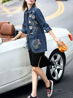 Paneled Denim long coat