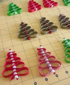 ribbon and beads= christmas trees. Fun ornaments! Kids will like this.
