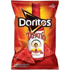 Frito Lay, Doritos Brand, Tapatio Hot Sauce Flavored Tortilla Chips, Bag (Pack of B 17, Doritos, Frito Lay, Salsa Picante, Candy Brands, Food Packaging Design, Tortilla Chips, Potato Chips, Spicy Recipes
