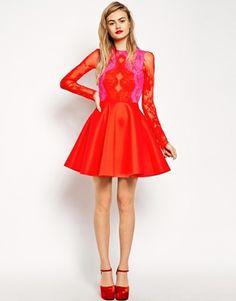 Enlarge ASOS Premium Bonded Skater Dress with Contour Lace Bodice a0c467760