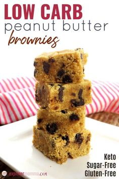 Low carb peanut butter brownies are a cheery gluten-free snack or dessert perfect for a keto diet. Sugar-free and easy. What could be better than chocolate and peanut butter for Mother's Day, a birthday, or everyday? Small Desserts, Low Carb Desserts, Low Carb Recipes, Dessert Recipes, Holiday Desserts, Diabetic Deserts, Candida Recipes, Diabetic Recipes, Delicious Desserts