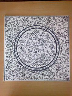 Arabesque Pattern, Mandala Stencils, Madhubani Painting, Turkish Art, Doodle Designs, China Painting, Pottery Designs, Zentangle Patterns, Islamic Art