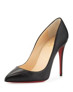 Christian Louboutin Pigalle Follies Point-Toe Red Sole Pump - Siyah