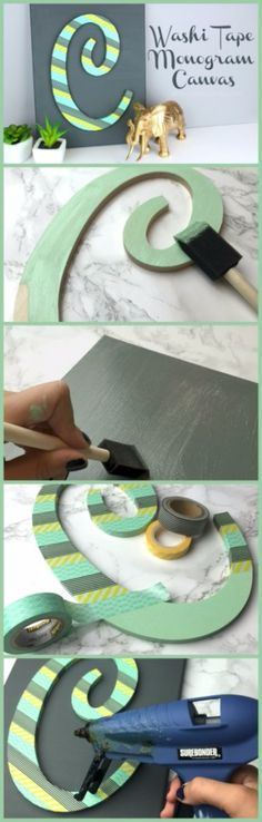 DIY Wall Letters and Initals Wall Art - Washi Tape Monogram Canvas - Cool Architectural Letter Projects for Living Room Decor, Bedroom Ideas. Girl or Boy Nursery. Paint, Glitter, String Art, Easy Cardboard and Rustic Wooden Ideas http://diyprojectsforteens.com/diy-projects-with-letters-wall