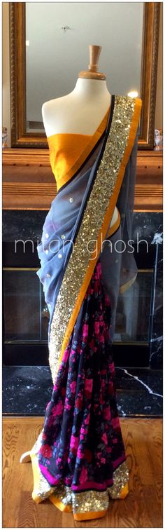 Printed Raw silk and georgette saree