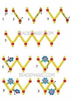 Free pattern for beaded bracelet Spring Flowers | Beads Magic