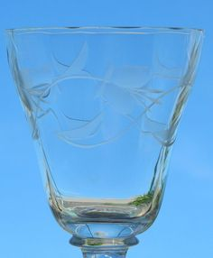 Crystal Cordial Sherry Juice Goblets Floral Violet Etched Cut Glass Optic Bowl