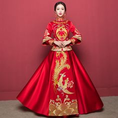 Traditional Chinese Clothes For Women Dragon Phoenix Clothing Oriental Wedding Gowns Plus Size Evening Dress Embroidery Qipao Traditional Chinese Clothing Female, Chinese Wedding Dress Traditional, Chinese Bride, Traditional Fashion, Traditional Dresses, Chinese Wedding Dresses, Korean Traditional Dress, Oriental Wedding, Oriental Style