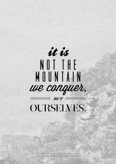 .Não é a montanha que devemos conquistar... mas a Nós mesmos.