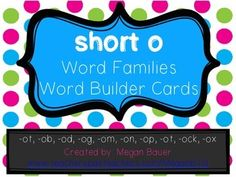 These cards are for students to practice building short o words.Word families included are: -ot, -ob, -od, -og, -om, -on, -op, -ot, -ock, and -ox. Also included are two recording sheets - one with primary lines and one with regular lines.Print on cardstock, laminate, and have students use the onset and rimes to practice building, reading, and writing words.