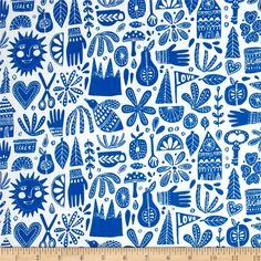 Cloud 9 Organic Kindred Fable Blue from @fabricdotcom  Designed by Lisa Congdon for Cloud 9 Fabrics, this certified 100% organic cotton print fabric meets the GOTS certification; only low impact, organic dyes were used in this product. This fabric is perfect for quilts, home decor accents, craft projects and apparel. Colors include white and royal blue.