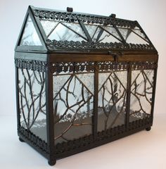 Reliquary Display Glass Reliquary Display_Case Apothecary Curio Cabinet Fairy Garden Terrarium Budding Vines on Etsy, $482.15