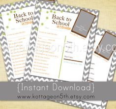 SALE - Instant Download - Back to School Interview for Any Age - BROWN - Printable Digital File - Keepsake Scrapbook Etc - Print Unlimited.  Available in alternate colors as well.  Like it?  Please support small business and purchase it at www.kottageon5th.etsy.com.