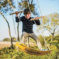 The Swurfer -- Original Outdoor Backyard Tree Swing with Unique Curved Skateboard Seat Design, Durable Rope, and Adjustable Handles