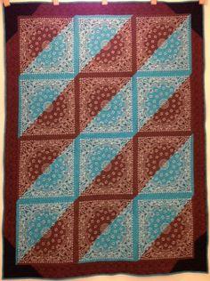 Items similar to Western Reversible Bandana Quilt on Etsy Quilt Block Patterns, Quilt Blocks, Sewing Patterns, Quilting Projects, Quilting Designs, Sewing Projects, Bandana Crafts, Bandana Ideas, Rag Quilt