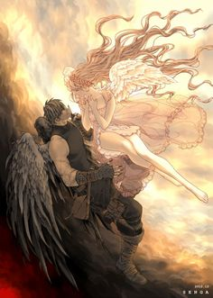 Pin by ßє ¥ za iяιçαℳ on fantastic - cennet melekleri anime art, fantasy ar Fantasy Love, Dark Fantasy Art, Fantasy Artwork, Paar Illustration, Arte Game Of Thrones, Fantasy Couples, Ange Demon, Angel And Devil, Anime Angel