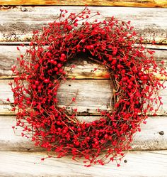 CLASSIC RED......SIMPLE and STUNNING!  A Beautiful Red Berry Wreath! You can hang this wreath all year long....Christmas, Valentines Day, 4th of