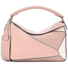 Loewe Puzzle Leather and Suede Shoulder Bag (146.035 RUB) ❤ liked on Polyvore featuring bags, handbags, shoulder bags, pink, suede purse, suede handbags, suede leather handbags, pink leather handbags and pink shoulder bag