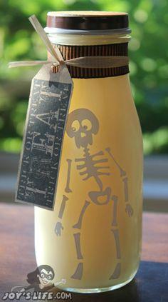Starbucks frappuccino bottle turns into Spooky Milk using vinyl and a Cricut: http://joyslife.com/halloween-blog-hop-give-away/