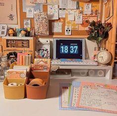 Korean Bedroom Ideas, Room Ideas Bedroom, Bedroom Decor, Workspace Inspiration, Room Inspiration, Desk Inspo, Study Room Decor, Cute Room Decor, Cute Desk Organization