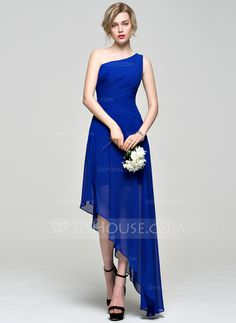 In the color POOL, great for beach wedding A-Line/Princess One-Shoulder Asymmetrical Ruffle Zipper Up at Side Regular Straps Sleeveless No Royal Blue Spring Summer Fall General Plus Chiffon Bridesmaid Dress