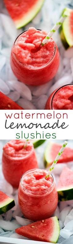 Beat the heat with these 2 ingredient Watermelon Lemonade Slushies!
