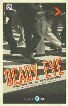 Beady Eye, Live on Letterman Poster Beady Eye, Eyes, Music, Movie Posters, Movies, Live, Musica, Musik, Film Poster