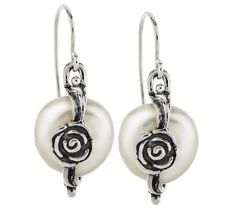 Or Paz Sterling Rose & White Cultured Coin Pearl Earrings