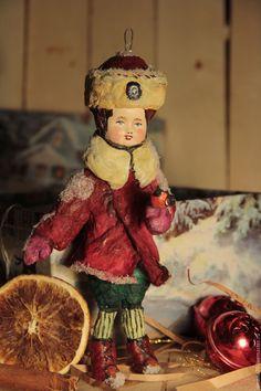 """Купить ватная игрушка """" Мальчик и снегирь"""" - бордовый, винтаж, ватная елочная…"""