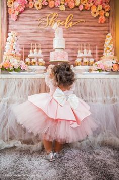 Birthday Girl + Sweet Table from a Pink + Gold 1st Birthday Party via Kara's Party Ideas | KarasPartyIdeas.com (9)
